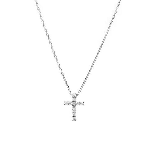 CZ Paved Cross Pendant Simple Chain Necklace