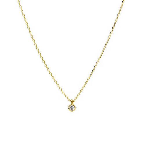 Delicate CZ Stone Pendant Simple Chain Necklace