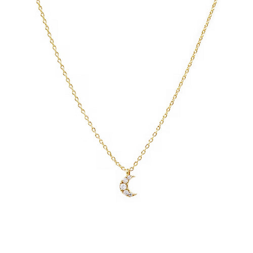 CZ Paved Crescent Moon Pendant Simple Chain Necklace