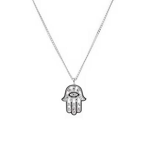 CZ Paved Hamsa Hand Pendant Simple Chain Necklace