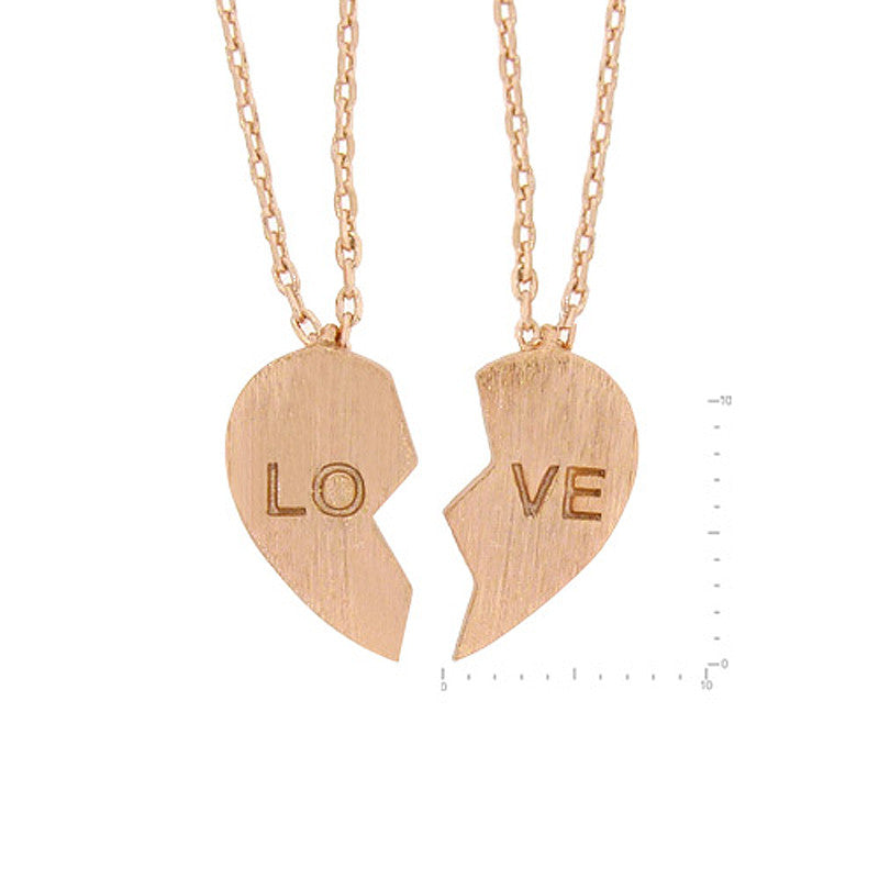 2Pcs Set Love Brass Necklace