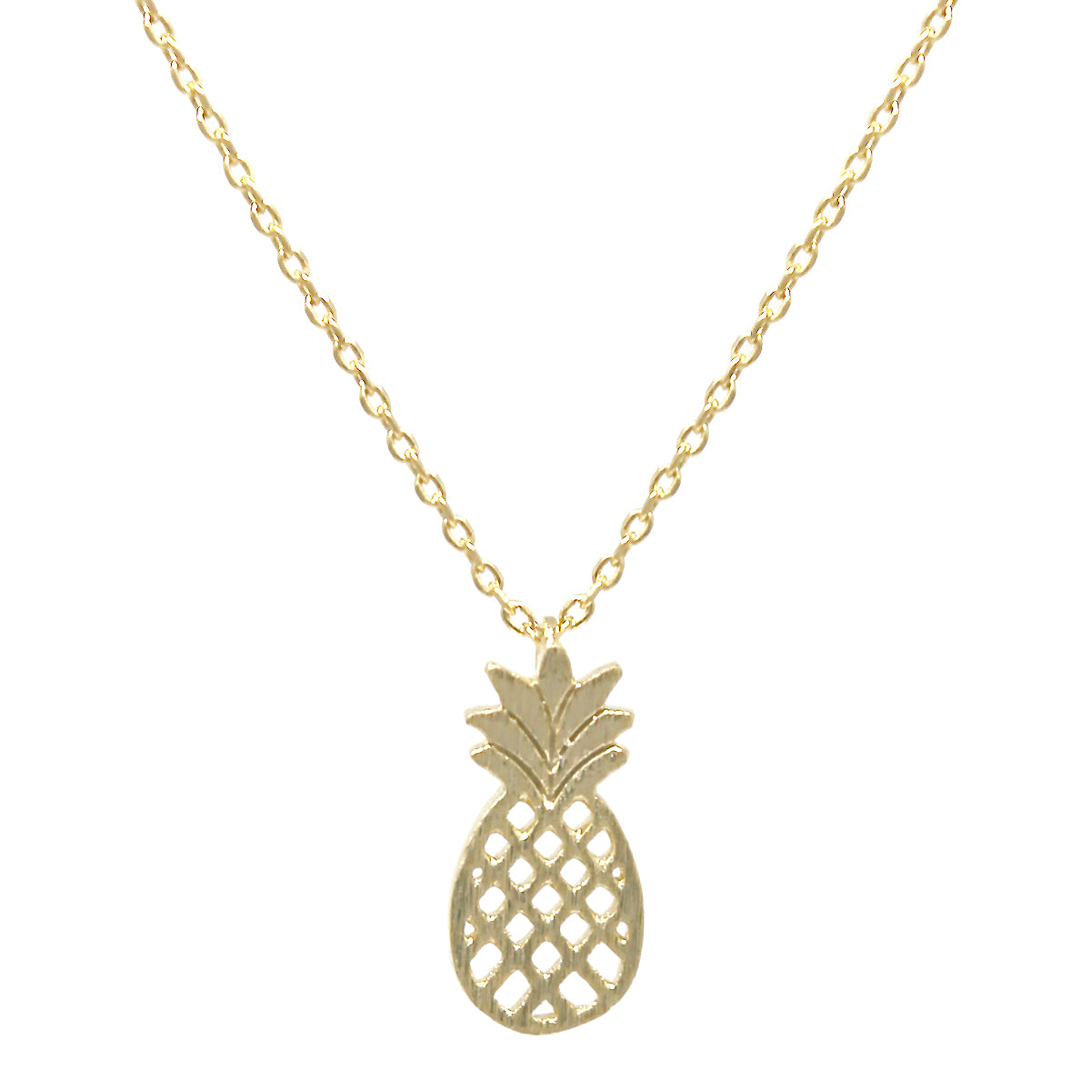 Pineapple Brushed Metal Pendant Simple Chain Short Necklace