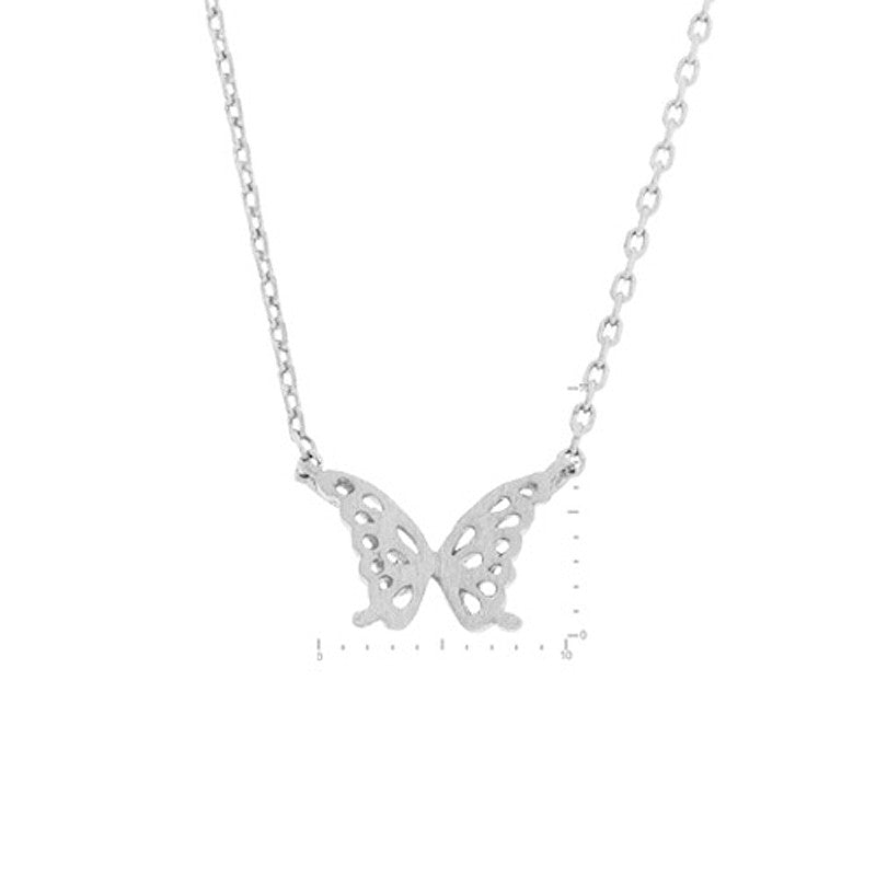 Butterfly Pendant Brass Necklace