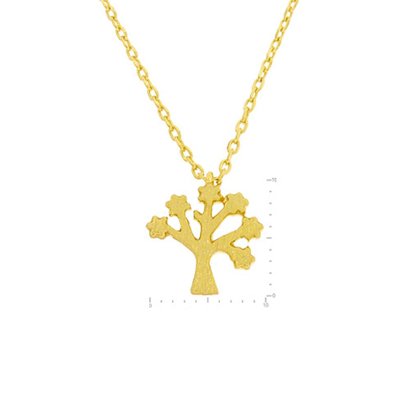 Popcorn Tree Pendant Brass Necklace