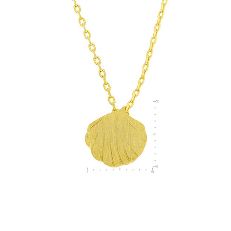 Shell Pendant Brass Necklace
