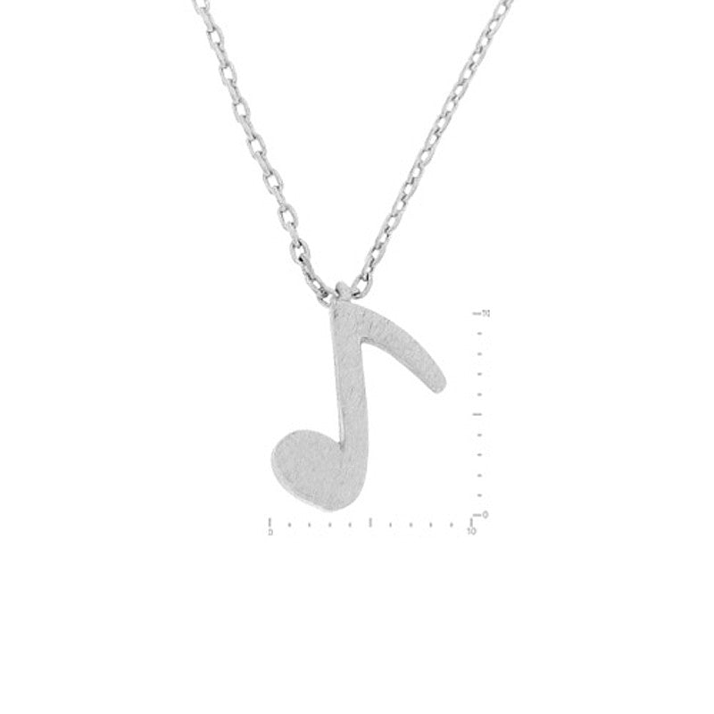Eighth Note Pendant Brass Necklace