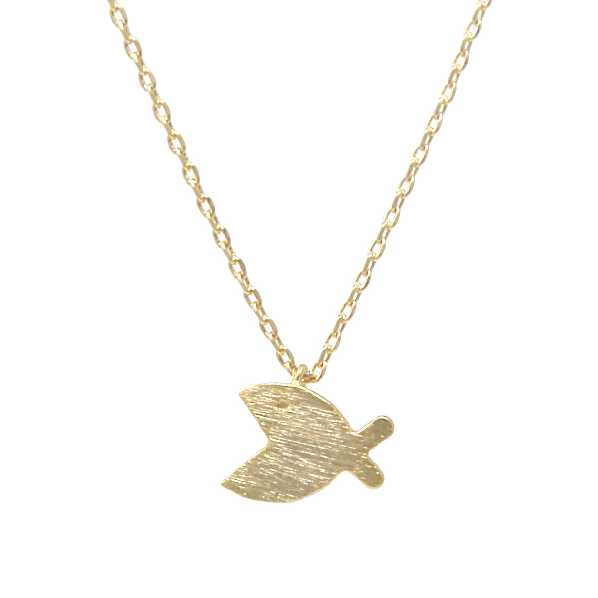 Fish Brushed Metal Pendant Simple Chain Short Necklace