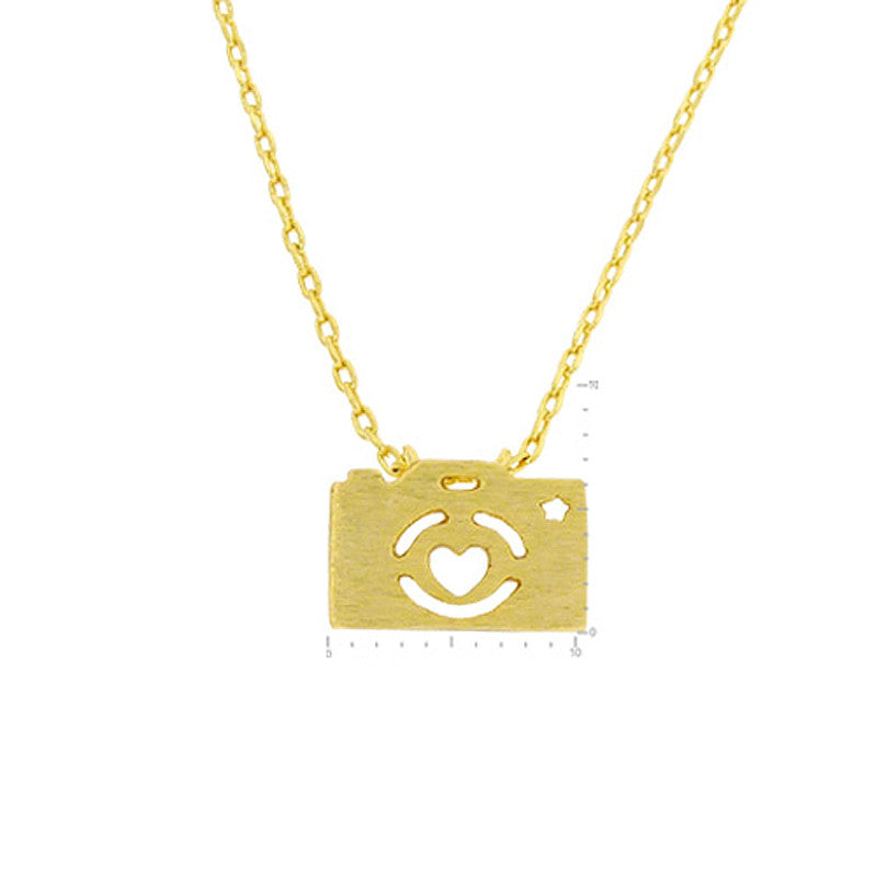 Camera Pendant Brass Necklace