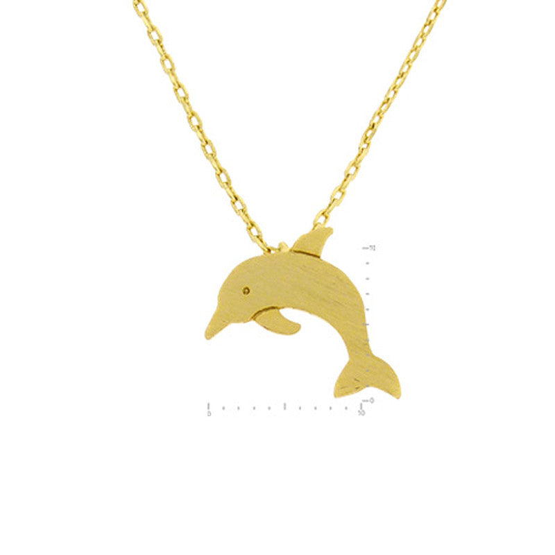 Dolphin Pendant Brass Necklace