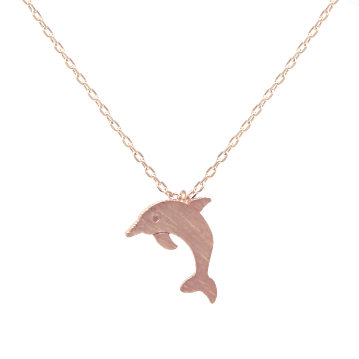 Dolphin Brushed Metal Pendant Simple Chain Short Necklace