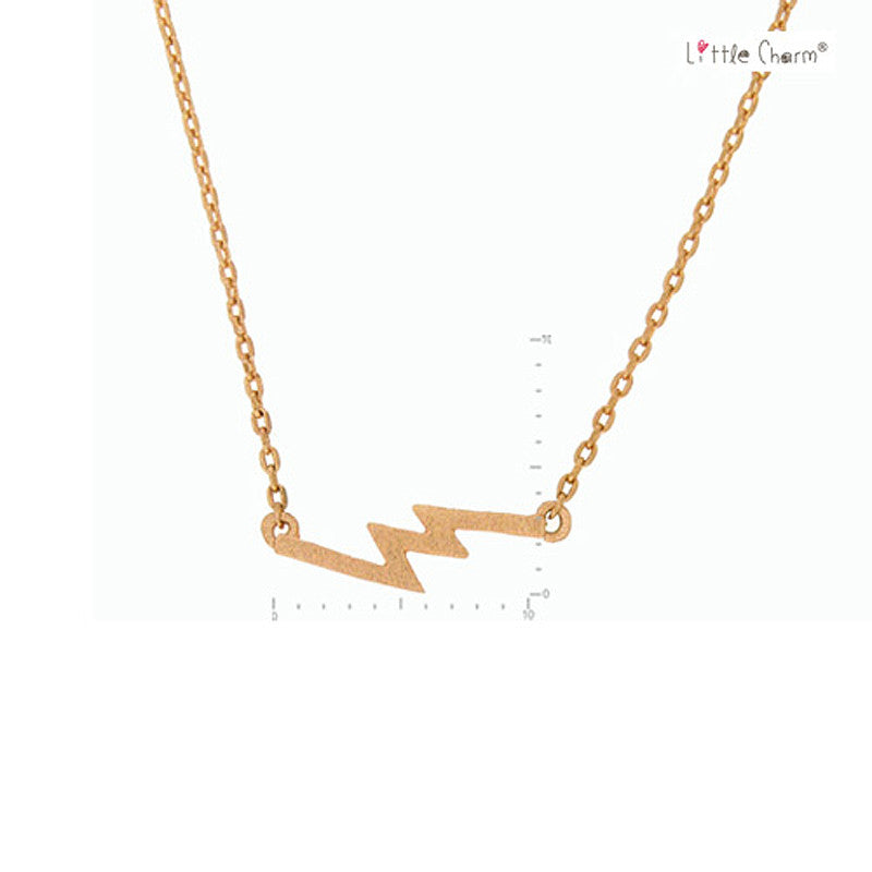 Zigzag Pendant Brass Necklace