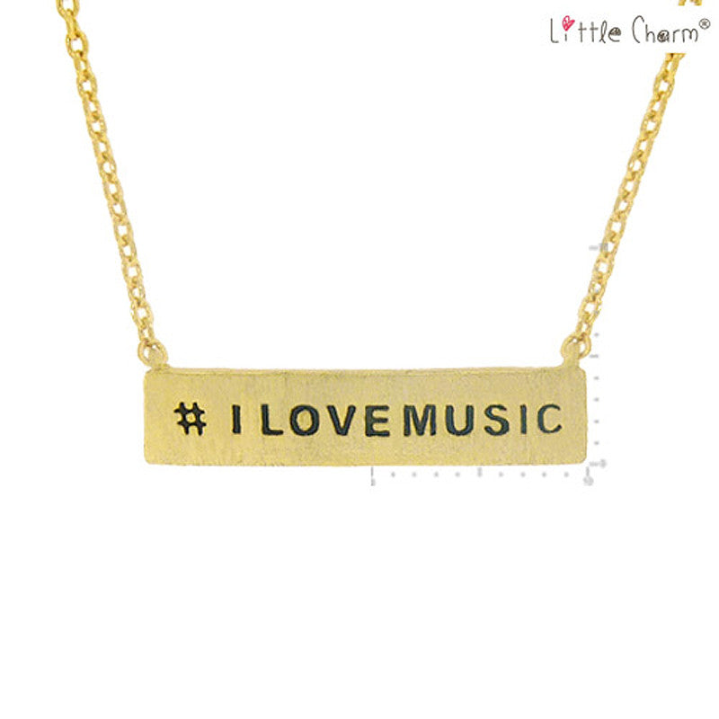 #I LOVE MUSIC Pendant Brass Necklace