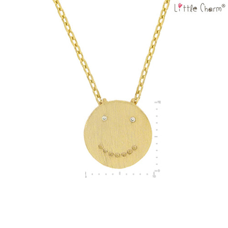 Smile Face Pendant Brass Necklace