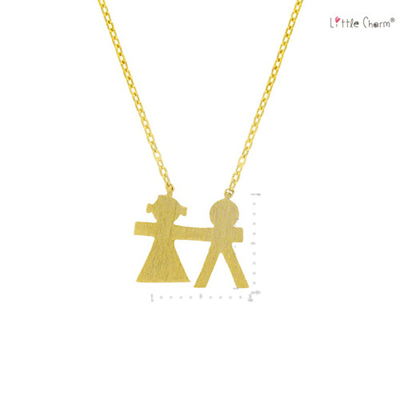 Family Pendant Brass Necklace