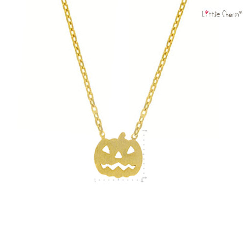 Jack O Lantern Pendant Brass Necklace