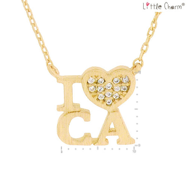 I LOVE CA State Map Pendant Brass Necklace
