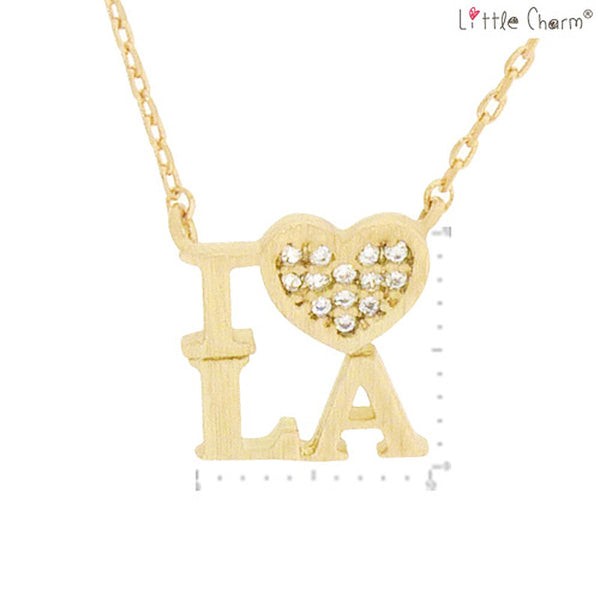 I LOVE LA State Map Pendant Brass Necklace