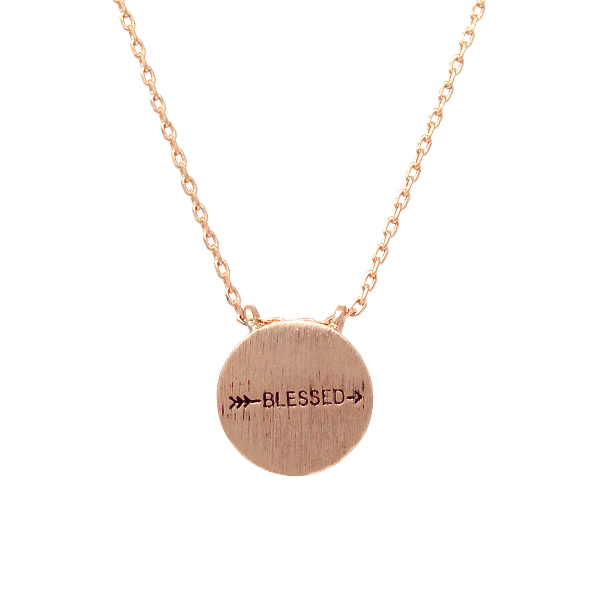 BLESSED Engraved Disc Pendant Simple Chain Short Necklace