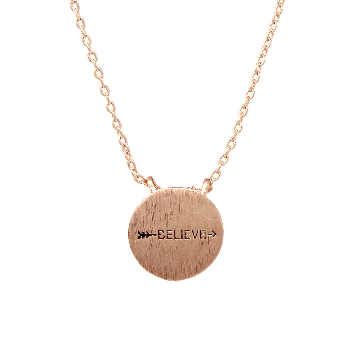 BELIEVE Engraved Disc Pendant Simple Chain Short Necklace