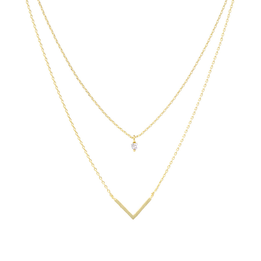 Gold Dipped Cubic Zirconia With Chevron Pendant Double Layered Short Necklace