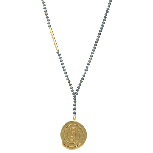 Textured Disc Pendant Beaded Y Chain Necklace