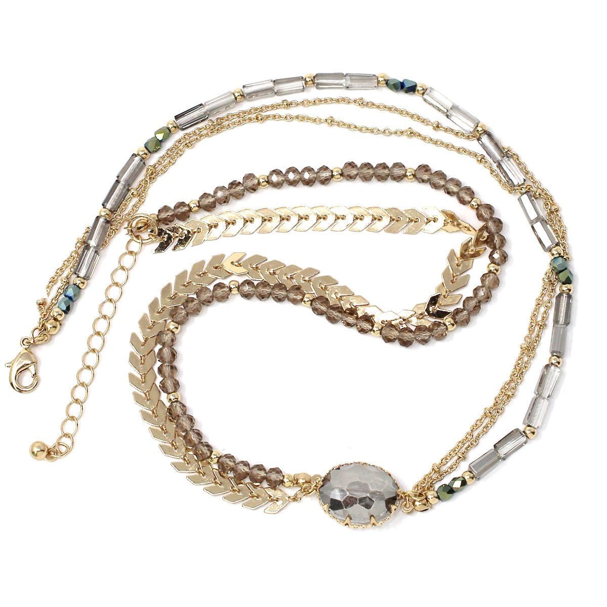 Oval Glass Stone Pendant Glass Beaded Chain Layered Wrap Bracelet