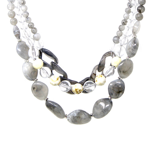 Chunky Acetate Bead With Chain Triple Layered Short Necklace