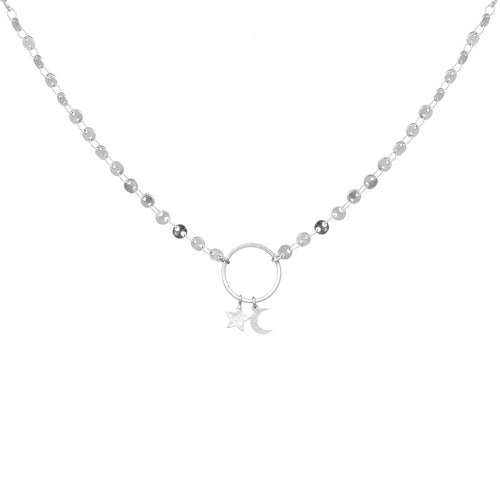 Moon And Star Pendant With Disc Linked Chain Short Necklace