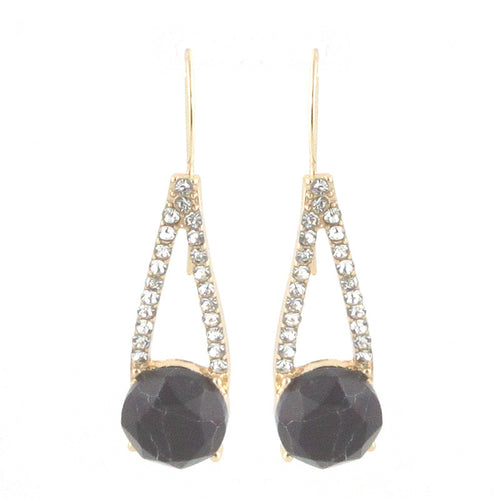 Faceted Round Stone and Cone Earrings