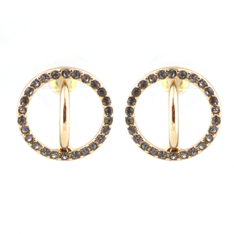 Geometric Pave Setting Round Studs Earrings