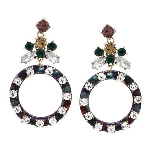 Glass Stone Embellished Acetate Hoop Drop Earrings