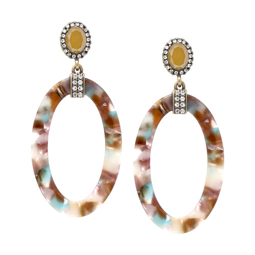 Pave Rhinestone With Oval Acetate Hoop Drop Earrings