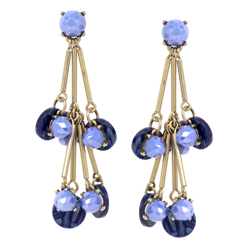 Round Stone With Acetate disc Dangle Fringe Drop Earrings