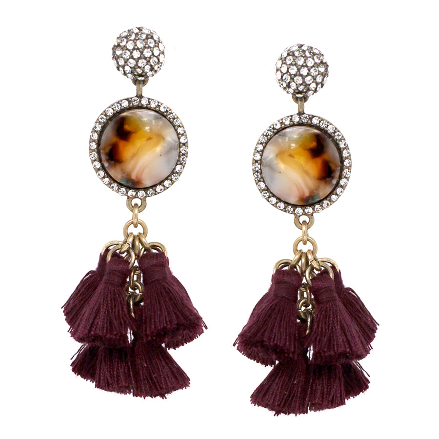 Pave Glass Stone Ball Top Acetate Disc With Tassel Drop Earrings