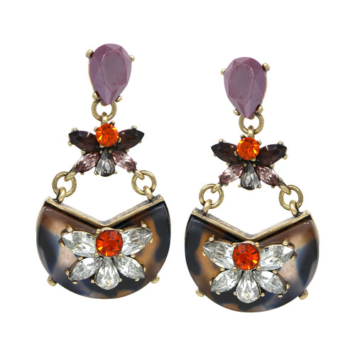 Flower Stone Embellished Acetate Drop Earrings