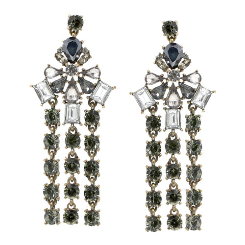 Flower Stone Cluster With Glass Stone Fringe Drop Earrings