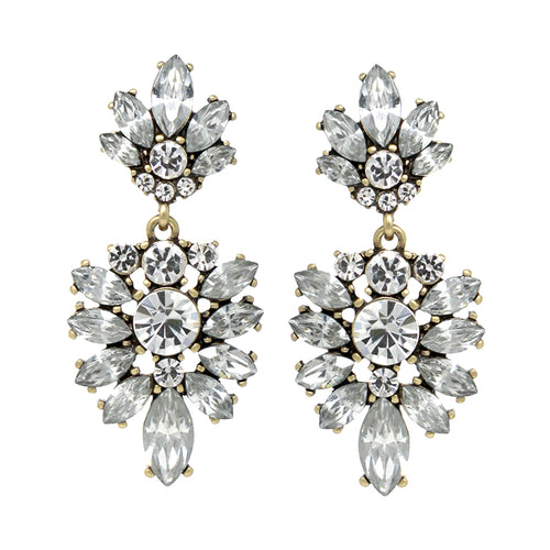 Marquise With Round Stone Cluster Drop Earrings