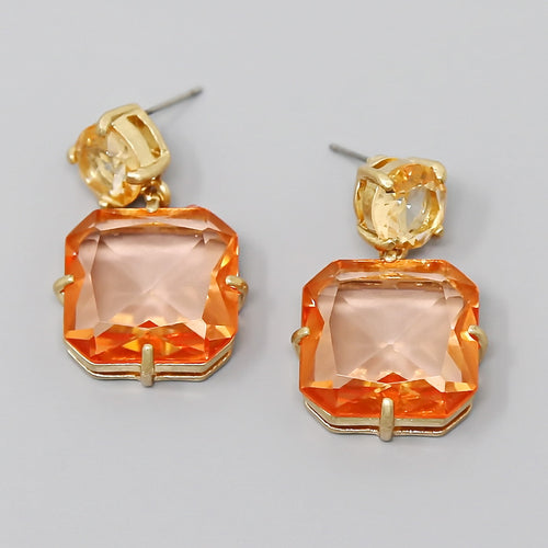 Square Glass Stone Drop Earrings
