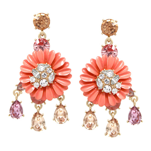 Glass Stone Pave Color Coated Flower Drop Statement Earrings