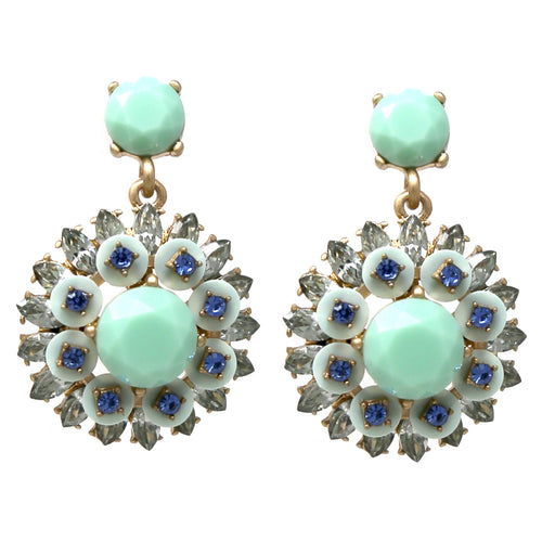 Faceted Stone Pave Color Coated Flower Drop Earrings