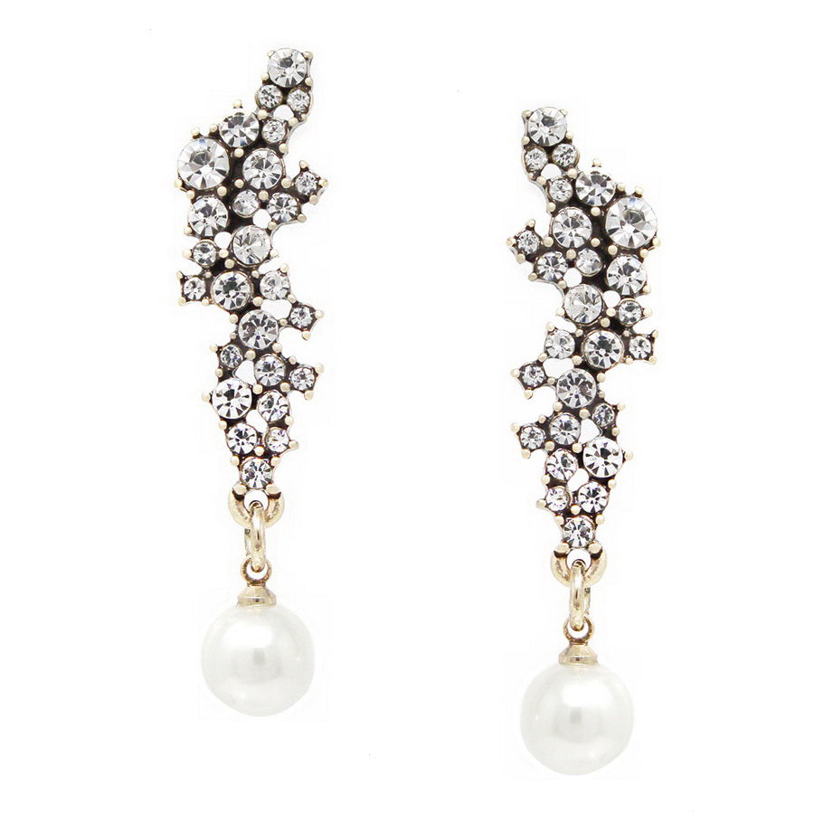Glass Stone Cluster With Pearl Drop Earrings