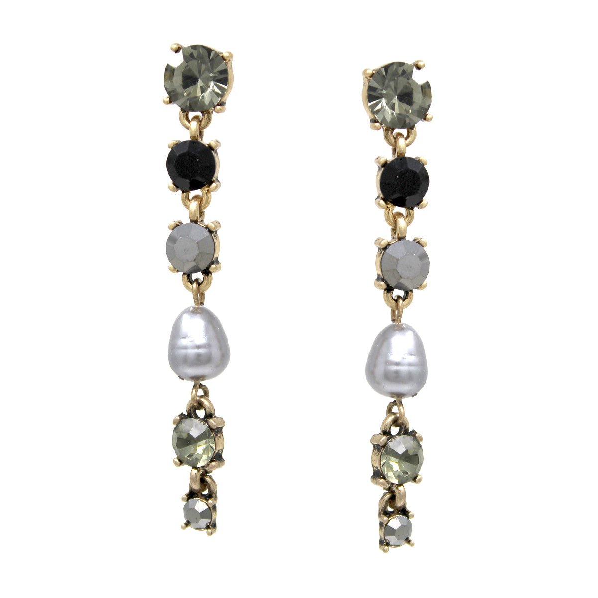 Glass Stone Pearl Bead Linear Drop Earrings