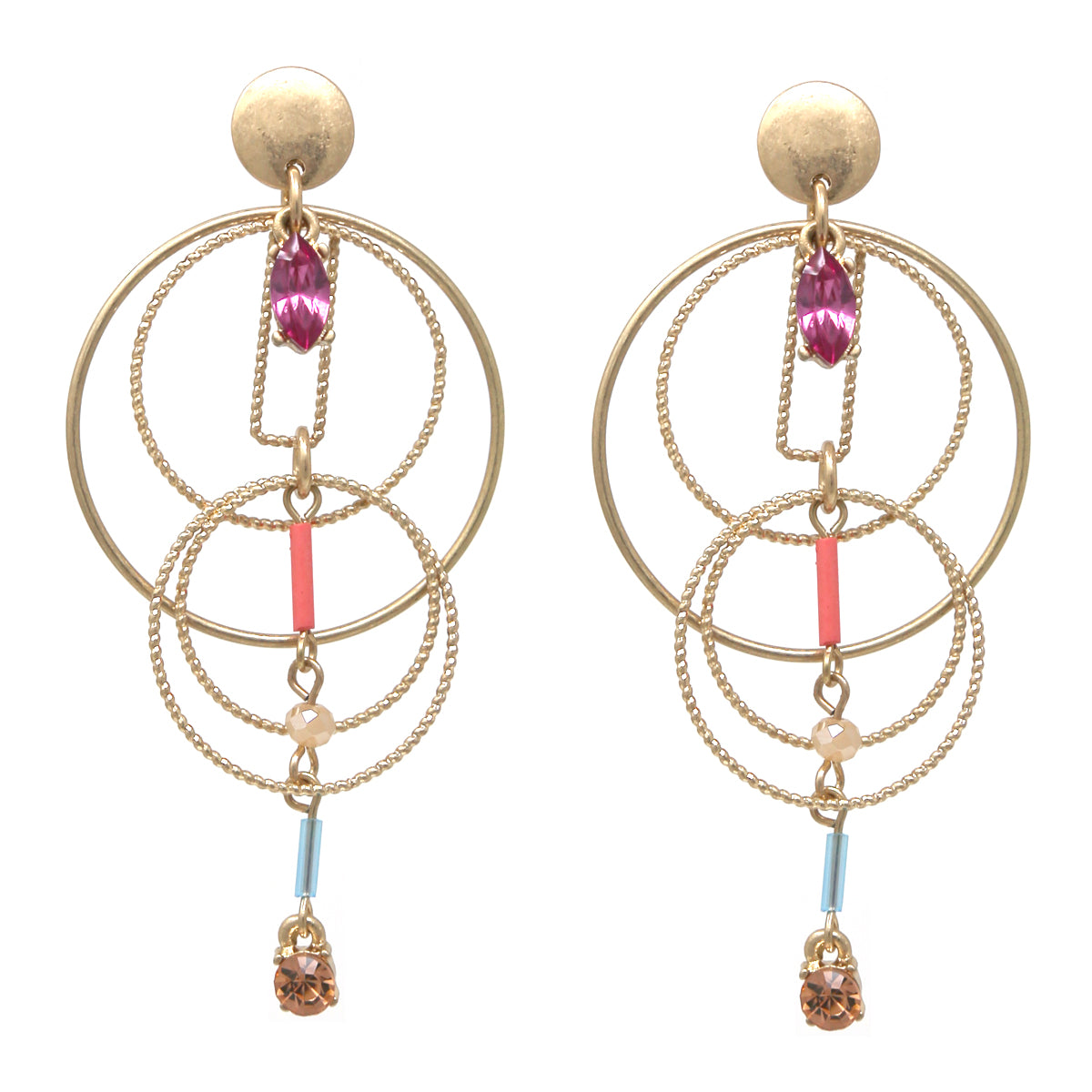 Faceted Stone Round Skinny Multi Hoop Drop Earrings