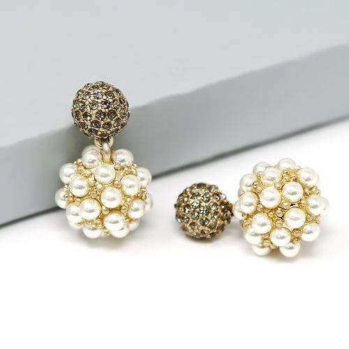 Glass Stone Cluster Top With Pearl Embellished Ball Drop Earrings