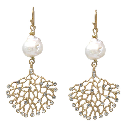 Freshwater Pearl Rhinestone Pave Reef Shape Drop Earrings