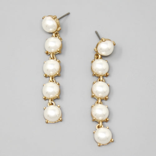Glass Stone / Pearl Linear Statement Earrings