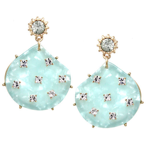Glass Stone Embellished Acetate Drop Earrings