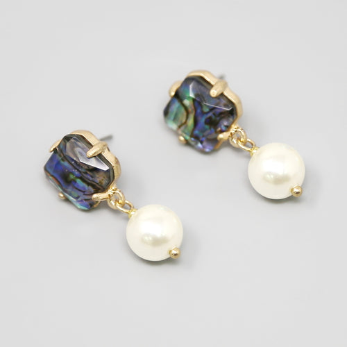 Abalone Square Glass Stone With Pearl Drop Earrings