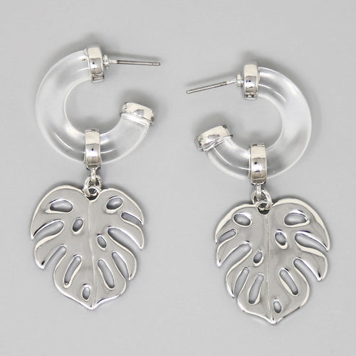 Lucite Puffed Hoop With Tropical Leaf Charm Earrings