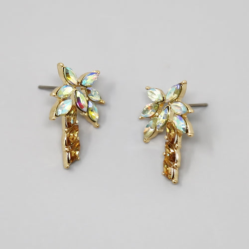 Palm Tree Glass Stone Pave Stud Earrings